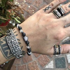 Silverskylight Jewelry - Genuine Herkimer Diamonds lava rock heart bracelet